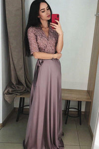 A Line V-Neck Half Sleeves Purple Long Prom Dress with Lace Top PFP0110