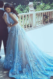 A-Line Blue Sleeveless Tulle Wedding Dress 2017 With Chapel Train PFW0251