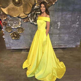 Yellow Off The Shoulder A Line Prom Dress,Long Evening Gown With Pockets PFP0476