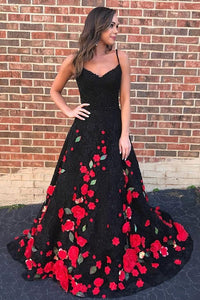 A-Line Spaghetti Straps Black Sweep Train A Line Prom Dress with Flowers
