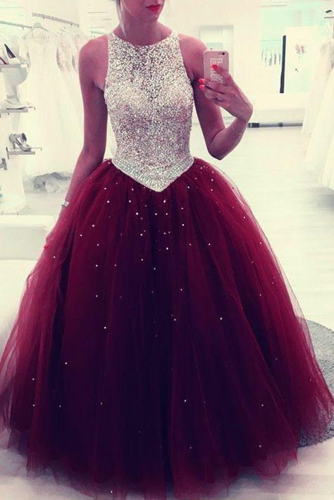 Beaded Scoop Tulle Burgundy Ball Gown Prom Dress, Quinceanera Dresses PFP0112