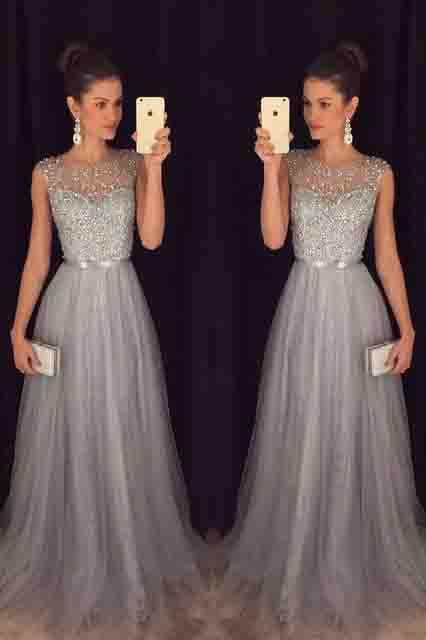 Elegant Gray Tulle Long A Line Prom Dress,Formal Party Dresses PFP0116