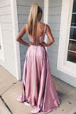 Two Piece Square A Line Pink Split Long Prom Dress with Lace Pockets PFP0593