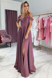 Charming A Line Off the Shoulder Spaghetti Straps Grape Long Prom Dresses PFP0117