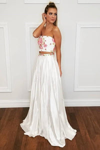 Two Piece Strapless Floor-Length Off White Prom Dress with Floral Appliques