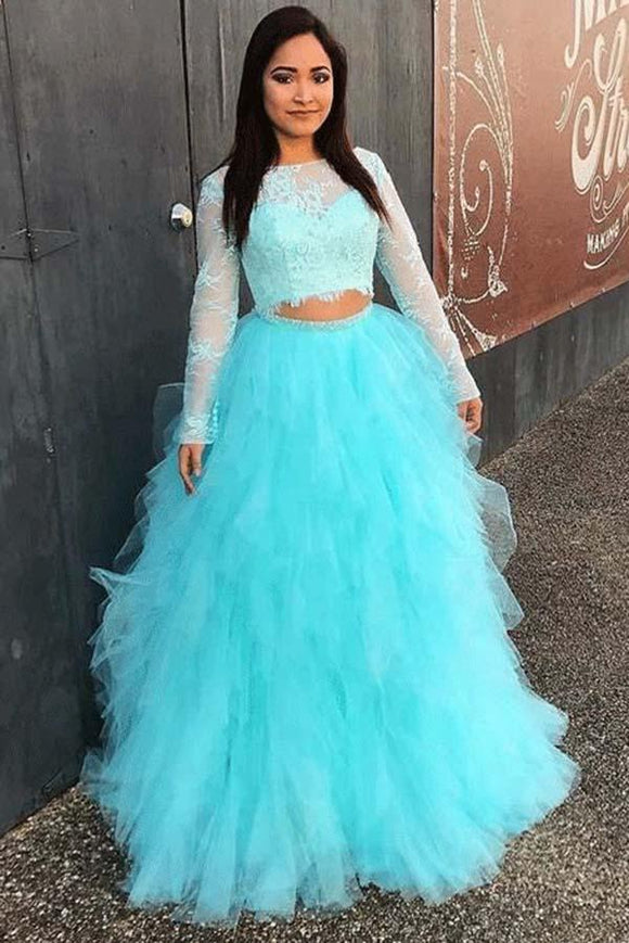 Full Sleeve Evening Dress, Two Piece Tulle Lace Top Prom Dress, Elegant Formal Dress PFP0118
