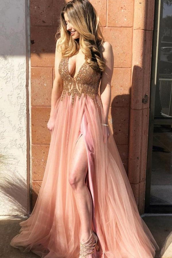 A-Line V-Neck Tulle Long Coral Prom Dress with Beading Split