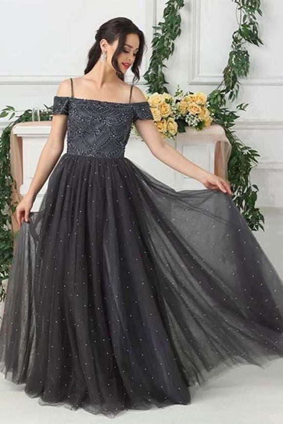 Grey Tulle A Line Beads Long Prom Dress,Evening Dresses PFP0120