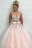 Charming A-Line V-Neck Floor-Length Pink Tulle Prom Dress with Appliques Beading PFP0597