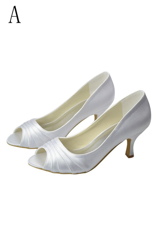 Beautiful White Peep Toe High Heel Handmade Comfy Wedding Shoes PFWS0012
