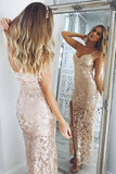 Mermaid Spaghetti Straps Pearl Pink Sequined Split Sexy Prom Dress PFP0122