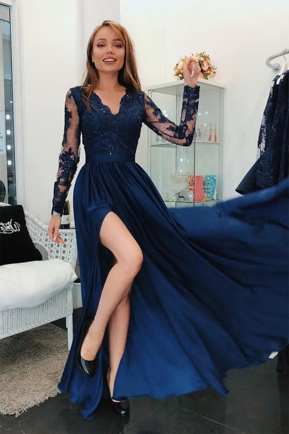 A Line Long Sleeves V Neck Dark Blue Prom Dresses With Appliques