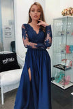 A Line Long Sleeves V Neck Dark Blue Prom Dresses With Appliques PFP0598