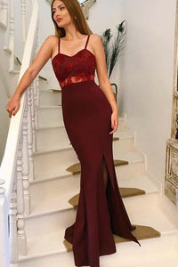 Mermaid Spaghetti Straps Long Burgundy Prom Dress with Lace Appliques PFP0125