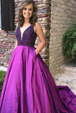 Purple A Line Beading V Neck Prom Gown With Pockets Cheap Formal Evening Dress