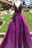 Purple A Line Beading V Neck Prom Gown With Pockets Cheap Formal Evening Dress PFP0600