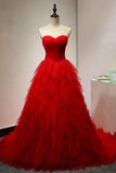 Chic Sweetheart A Line Zipper Back Red Ruffles Cheap Long Prom Dress PFP0025