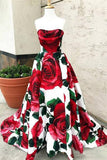 Rose Red Floral Long Prom Dresses with Pockets Strapless Evening Gown
