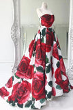 Rose Red Floral Long Prom Dresses with Pockets Strapless Evening Gown PFP0601