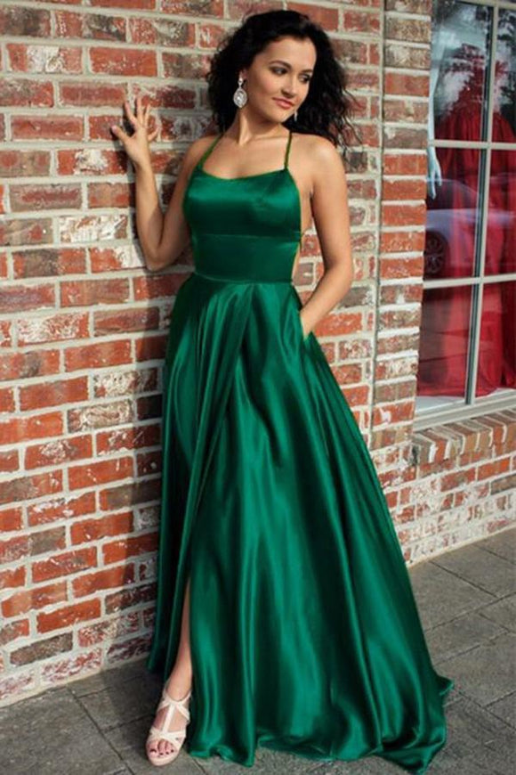 A Line Green Straps Criss Cross Back Long Prom Dresses with Pockets