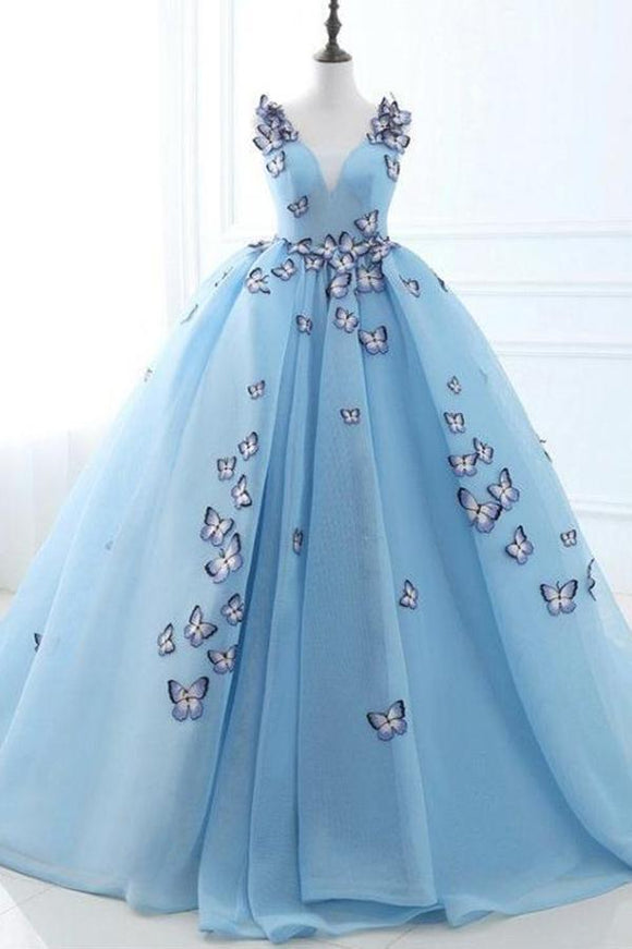 Ball Gown Long Sky Blue Butterfly V Neck Prom Dress,Quinceanera Dresses PFP0129