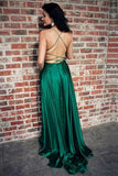 A Line Green Straps Criss Cross Back Long Prom Dresses with Pockets PFP0603