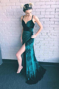 Sheath Emerald Green Spaghetti Straps Long Simple Prom Dresses with Slit