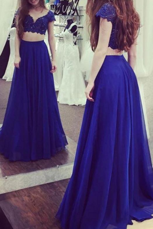 Charming Royal Blue Two Pieces Short Sleeves Lace Top Long Prom Dress PFP0132