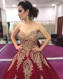 Gold Lace Appliques Sweetheart Ball Gown Prom Dress Sweet 16 Dress Quinceanera Dresses PFP0606