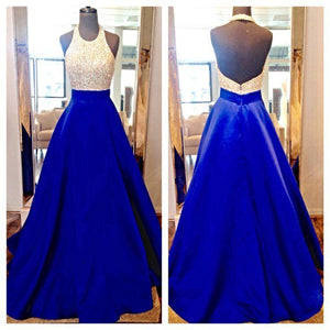 High Neck Royal Blue Long Prom Dresses,Bodice Beads Evening Prom Dress Ball Gown PFP0135