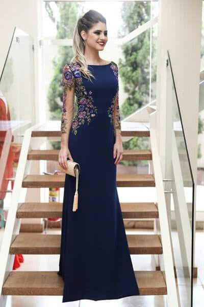 Sheath Long Sleeves Navy Blue Prom Dresses With Floral Embroidery
