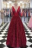 Charming Burgundy V Neck Sleeveless Sequin Prom Dresses A Line Formal Party Dress PFP0609
