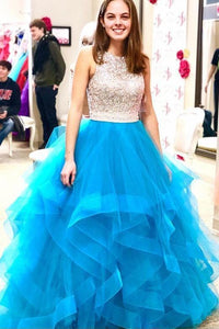 Beaded Organza Ruffles Ice Blue Ball Gown Prom Dress PFP0138