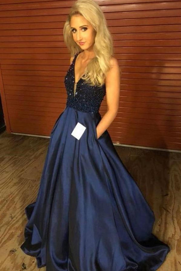 A Line Plunge Neckline Beaded Navy Blue Prom Dresses Pockets Cheap Evening Dresses