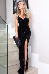 New Arrival Sexy Sleeveless Spaghetti Straps Black Prom Dress Bling Evening