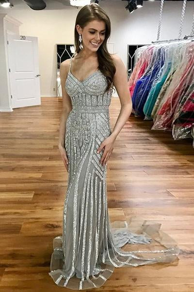 Silver Beaded Long Spaghetti Straps Mermaid Prom Dresses PFP0139