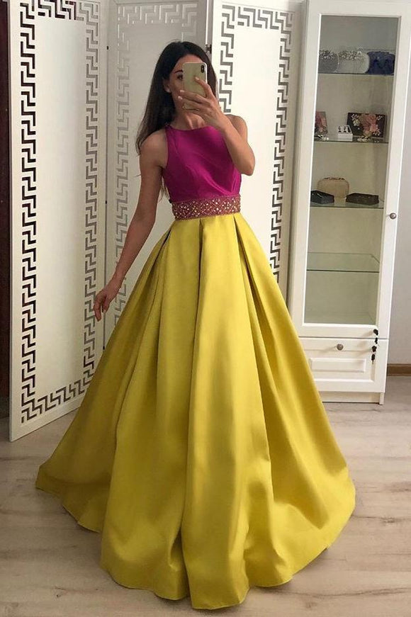 Stunning A Line Satin Yellow Beaded Sleeveless Long Prom Dresses