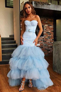 Sky Blue Tulle Sweetheart Neck Long Layered Evening Dress Cheap Prom Dresses