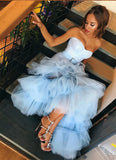 Sky Blue Tulle Sweetheart Neck Long Layered Evening Dress Cheap Prom Dresses PFP0618