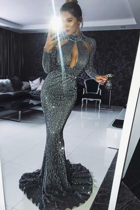 Sexy Long Sleeves Sequin Mermaid Shinning Sweep Train Cheap Prom Dresses PFP0144
