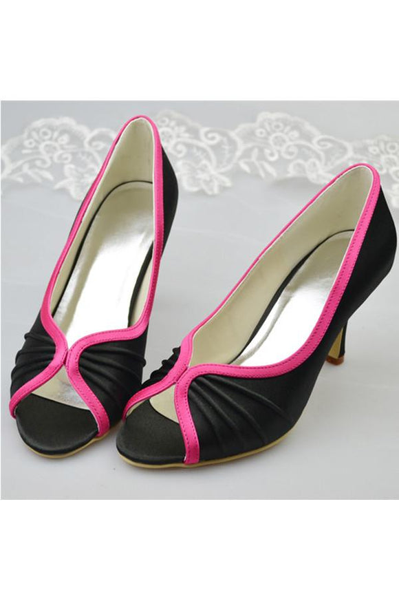 Black Simple Peep Toe Simple High Heel Prom Shoes For Women PFWS0013