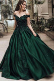 Off Shoulder Dark Green A-line Long Evening Prom Dresses, Cheap Sweet 16 Dresses PFP0006
