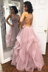 Sexy Deep V Neck Ruffles Pink Long Prom Dress with Criss Cross Back