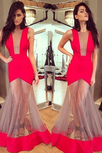Red Long Mermaid Unique Prom Dress,Formal Evening Dresses PFP0146