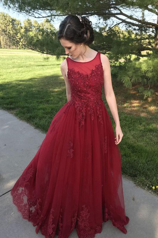 A Line Red Appliques Long Tulle Formal Prom Dresses PFP0148