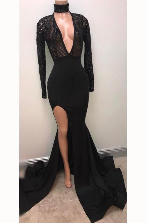 Cheap Black Deep V-neck Long Sleeve Prom Dresses Split Sexy Evening Gown