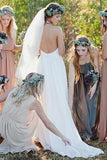 Halter Backless Sweep Train Chiffon Elegant Cheap Bridal Gown PFW0051