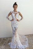 Long Sleeve Lace Mermaid Prom Dresses,Sexy See through Cheap Long Wedding Dresses PFW0052