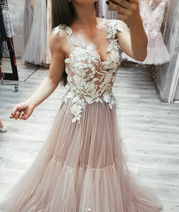 V Neck Tulle Lace Appliques Long Prom Dress, Cheap Tulle Evening Dresses PFP0026