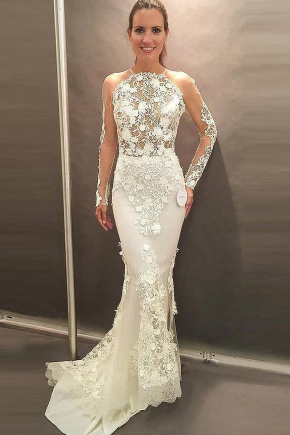 Mermaid Jewel Long Sleeves Sweep Train Wedding Dresses, Prom Dress with Lace Appliques PFW0053